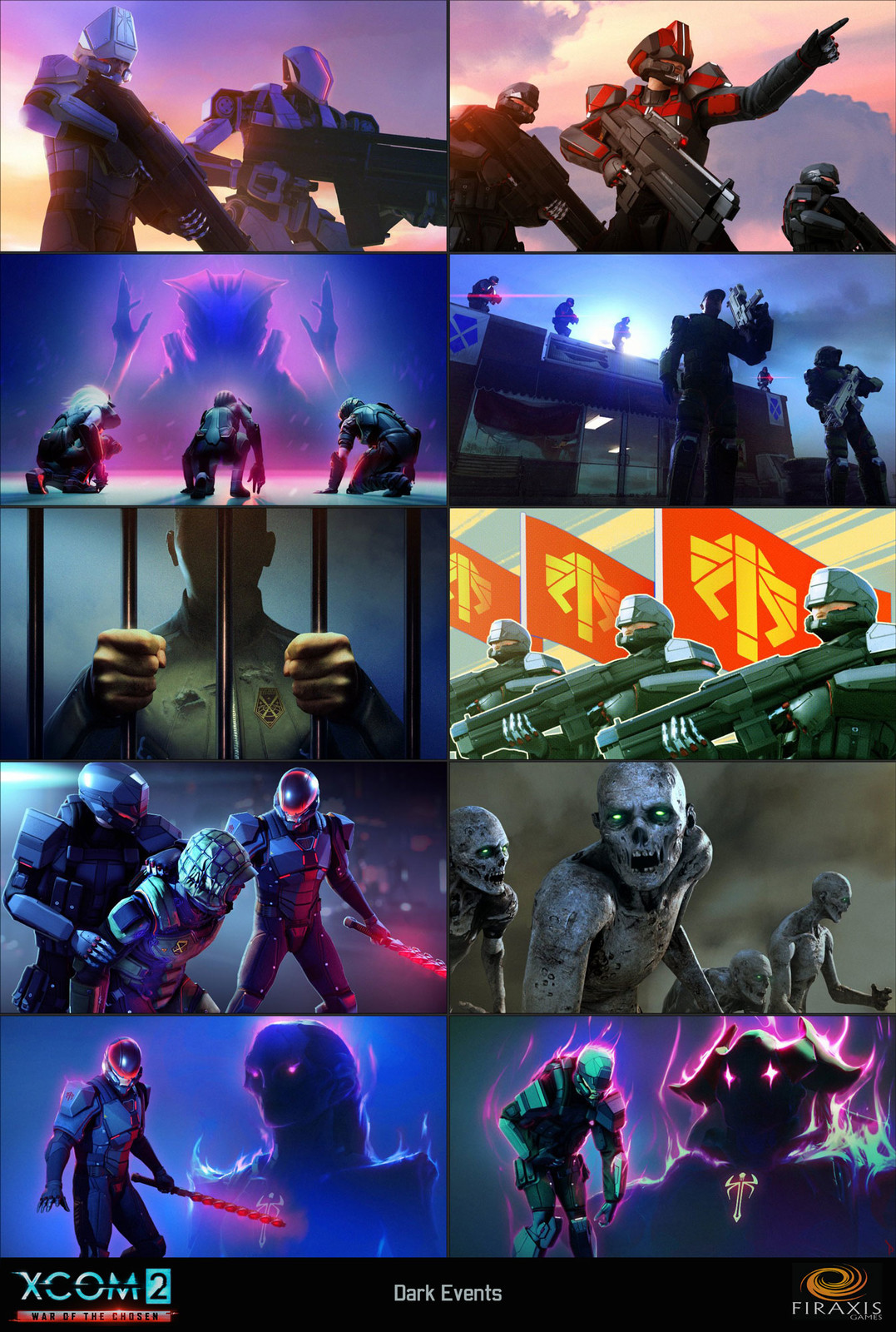 """Illustrations for """"Dark Events"""" in XCOM2: WOTC's strategy layer"""