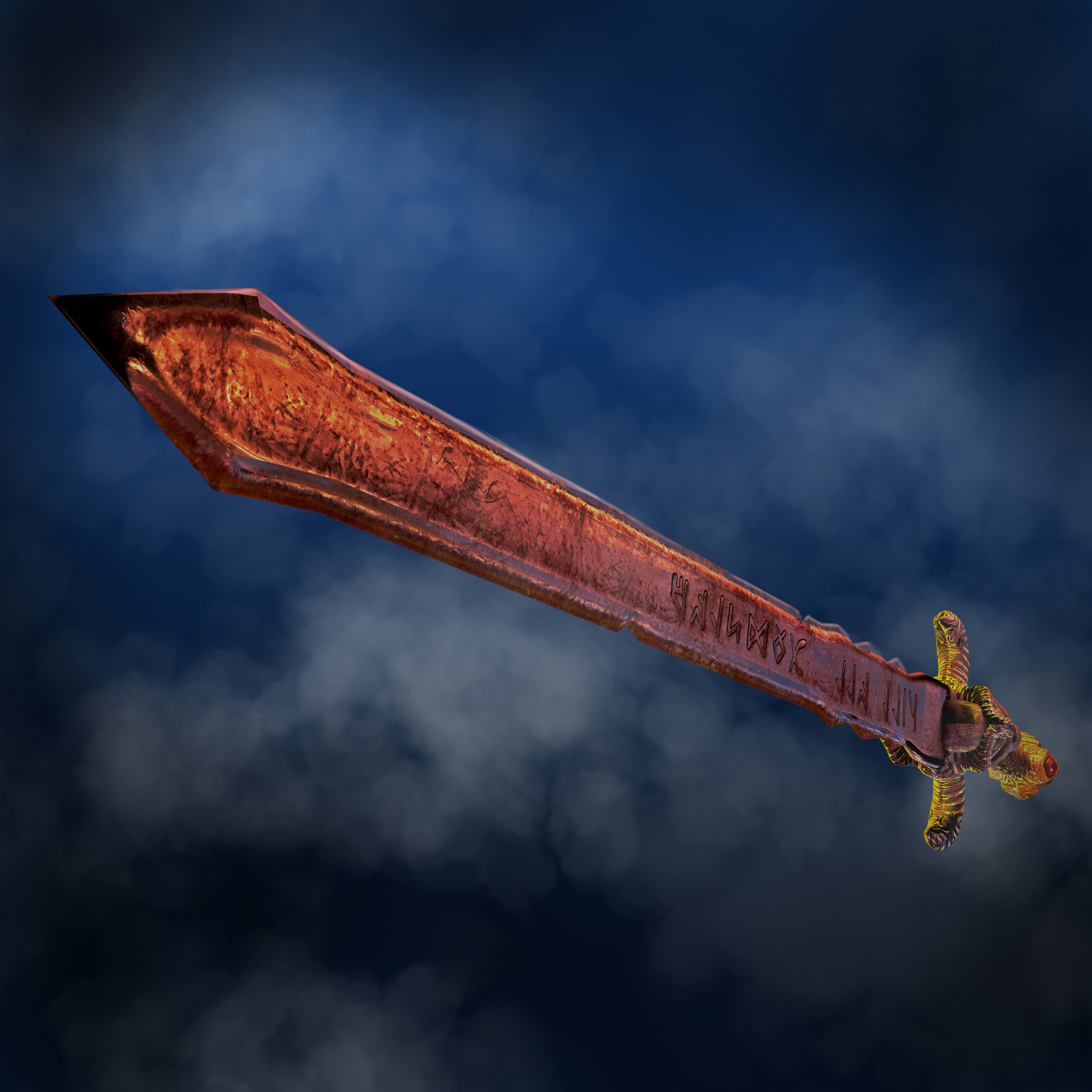 Been practising with Arnold renderer yesterday. Modelled this wee little low poly sword and textured it yesterday.