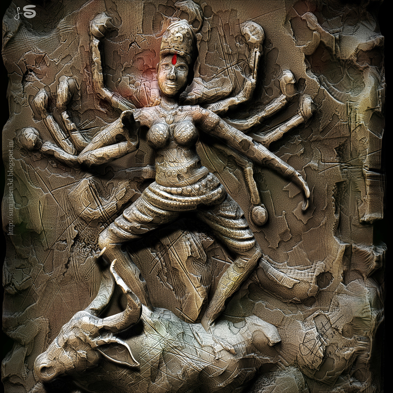 In this artwork I depicted Devi Durga as 'MahishasuraMardini' in a digital clay sculpting.... From being 'Chinmoyee'(Supreme Consciousness) to 'Mrinmoyee'(Made in clay).