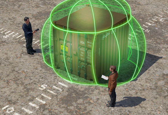 Representing gamma radiation fields detected around a suspect container.