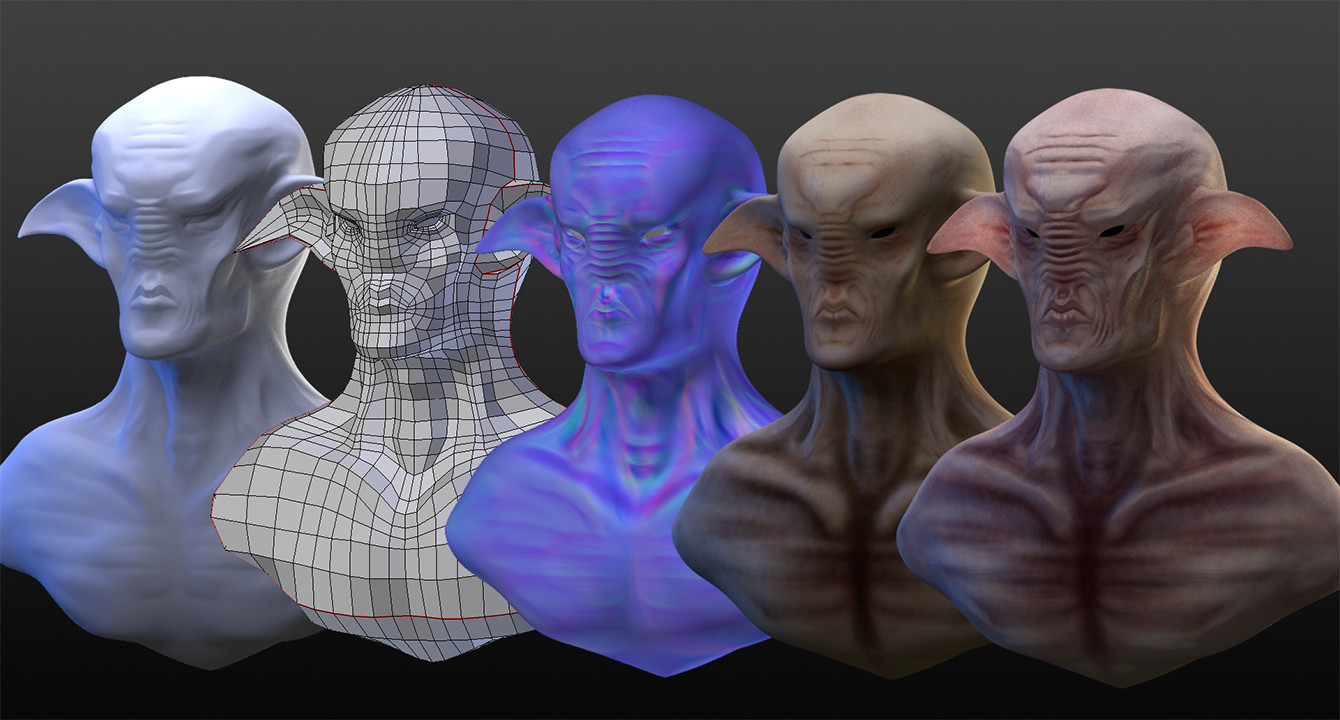 sculpt - wireframe - normal map - base color - rough rendering