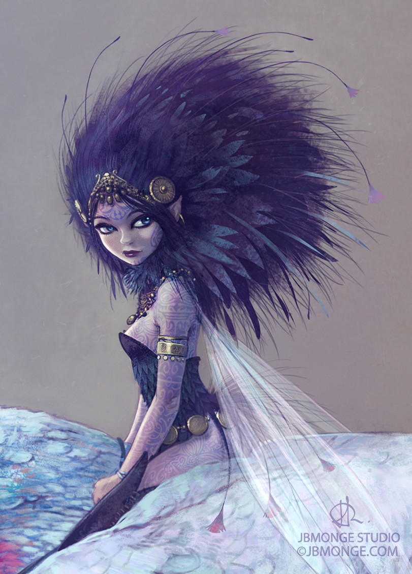Close-up on the details of the Faery, her tattoos and her feather hair