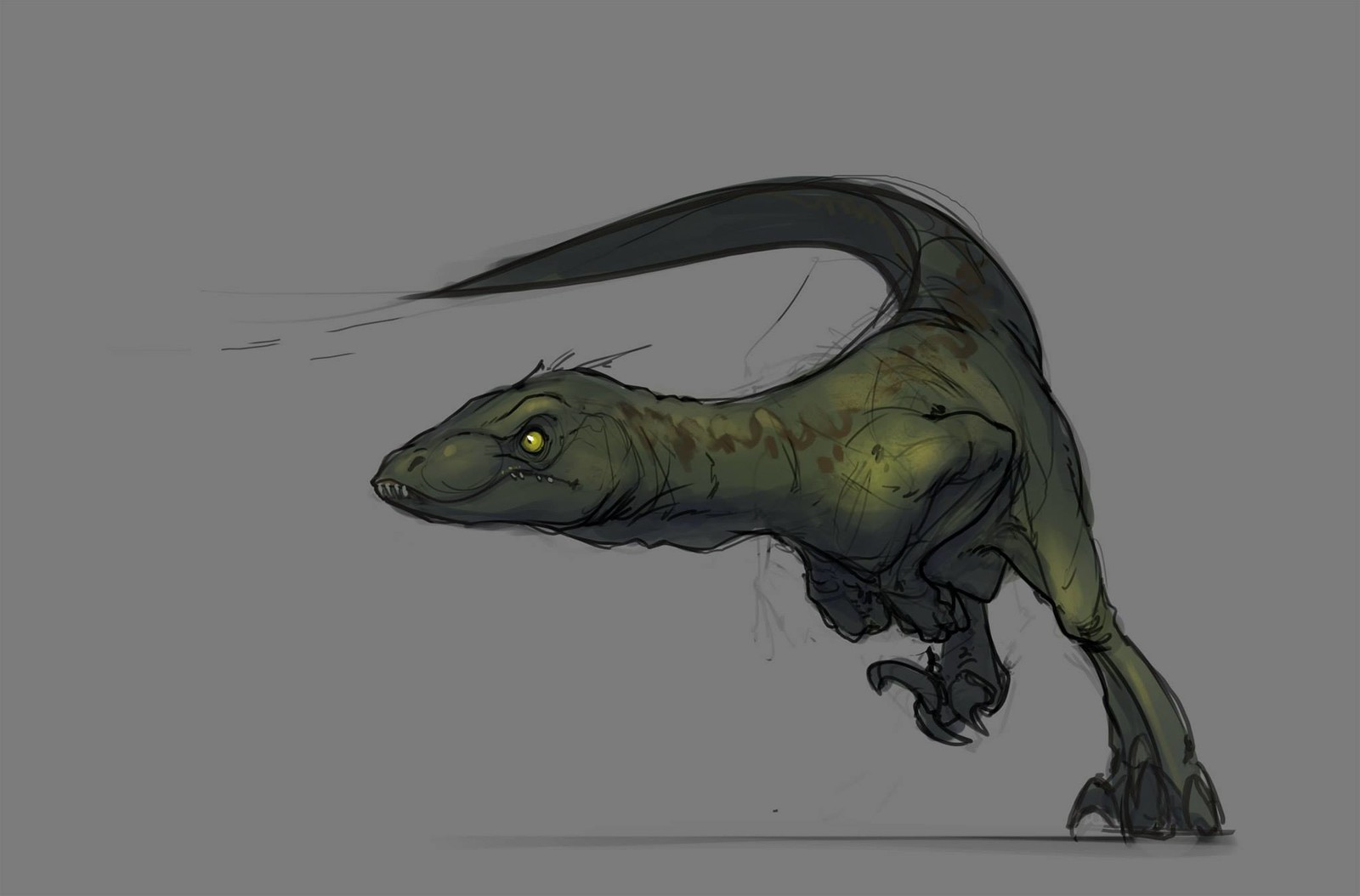 The underlying sketch preparing for the final illustration. I'd never done a dinosaur before so it involved a lot of reference and doodles before this sketch and the following final image.