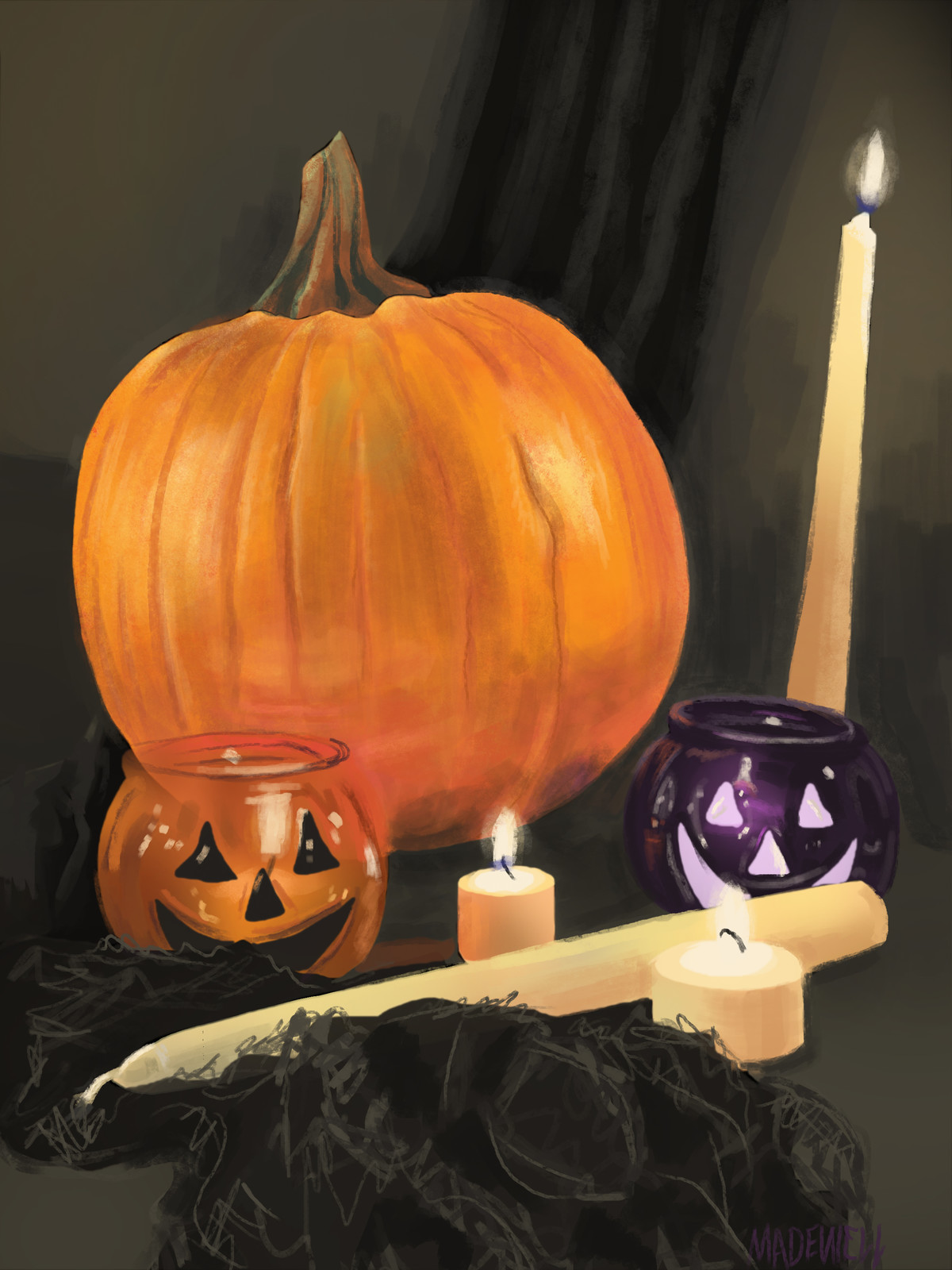 Pumpkin and Candles