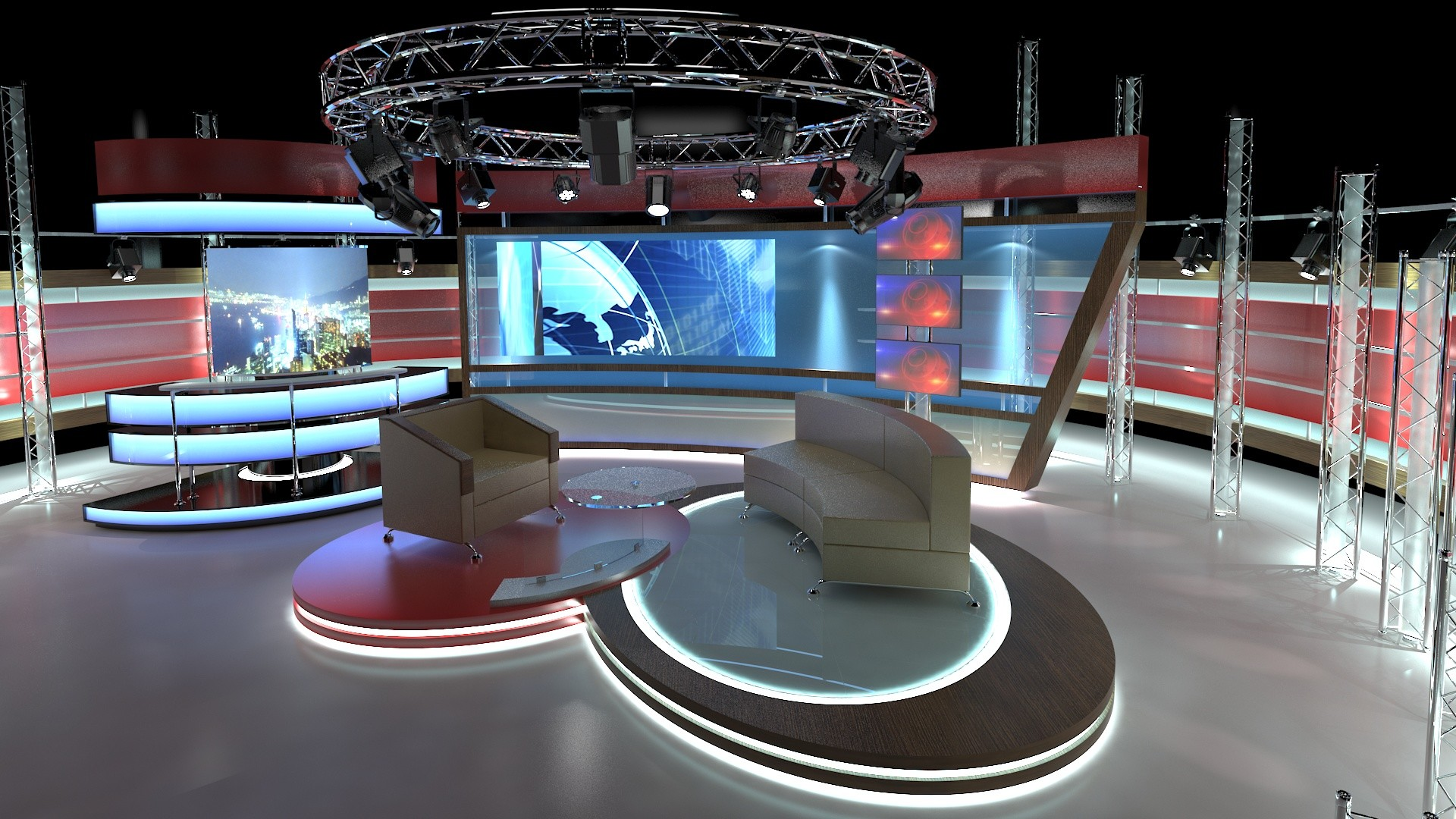 ArtStation - 3D Virtual TV Studio Chat Set 1, aker Studio