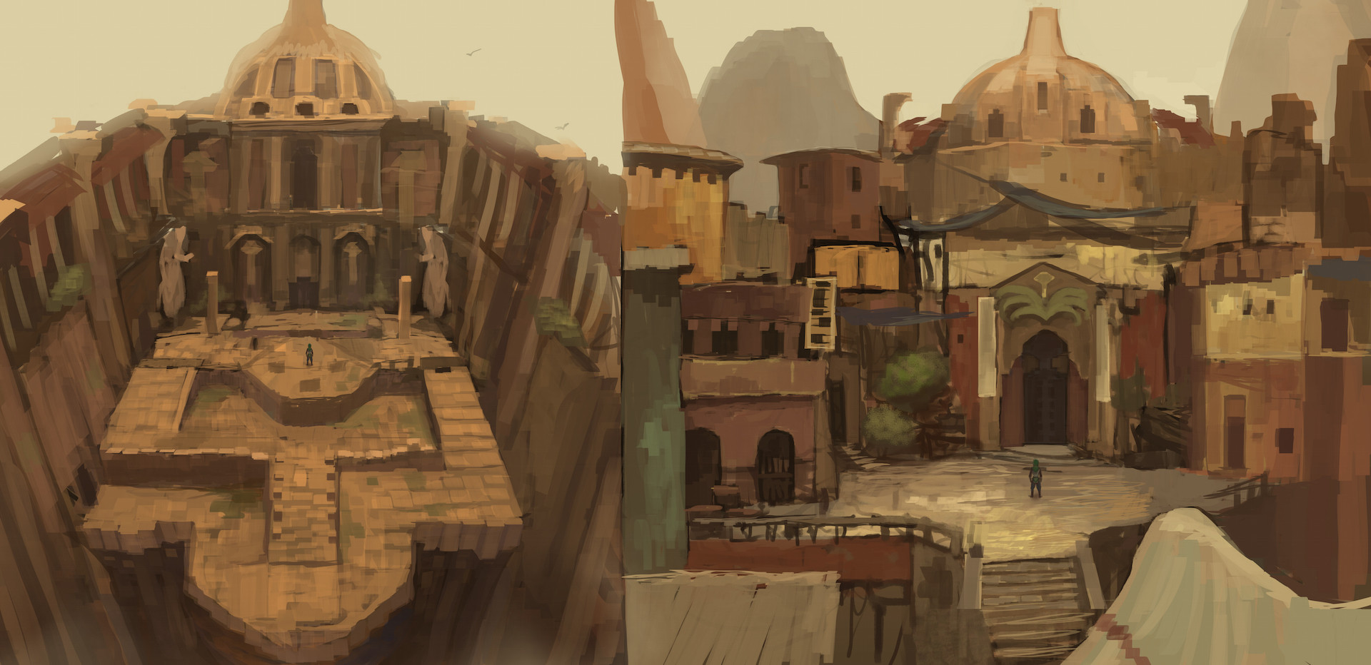 Concept for the Zaber combat arena interior and exterior.