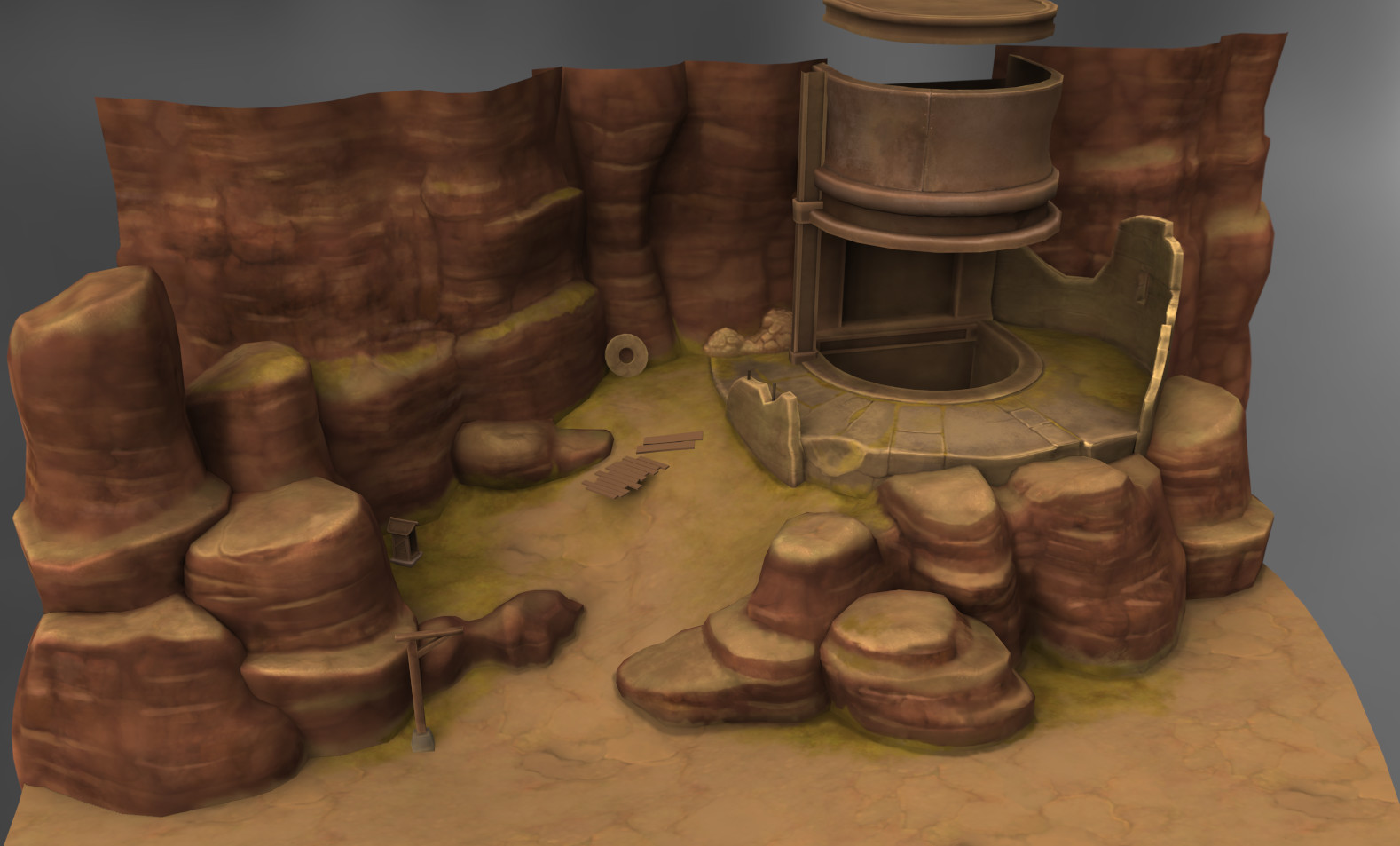 3D scene from the game. Painted in 3D-coat.
