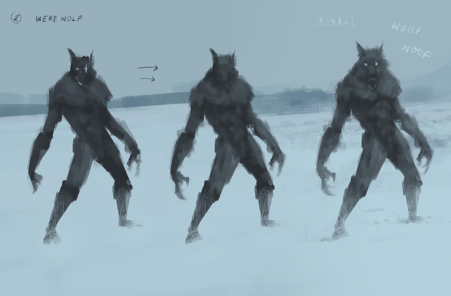 Jakub rozalski lonely wolf process02