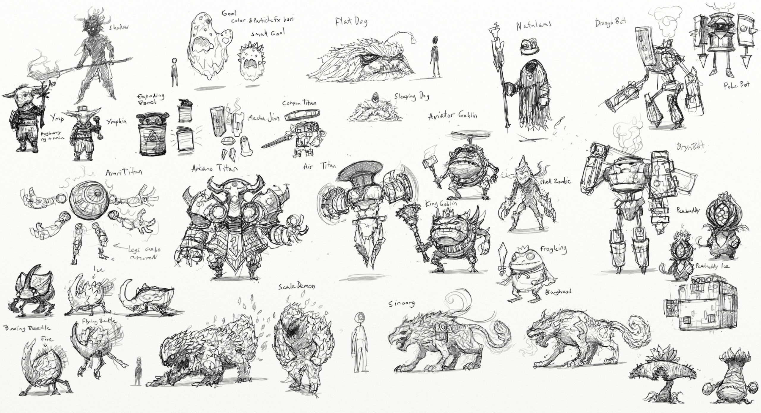 Example of the initial monster sketch sheets. Loads of different ideas.