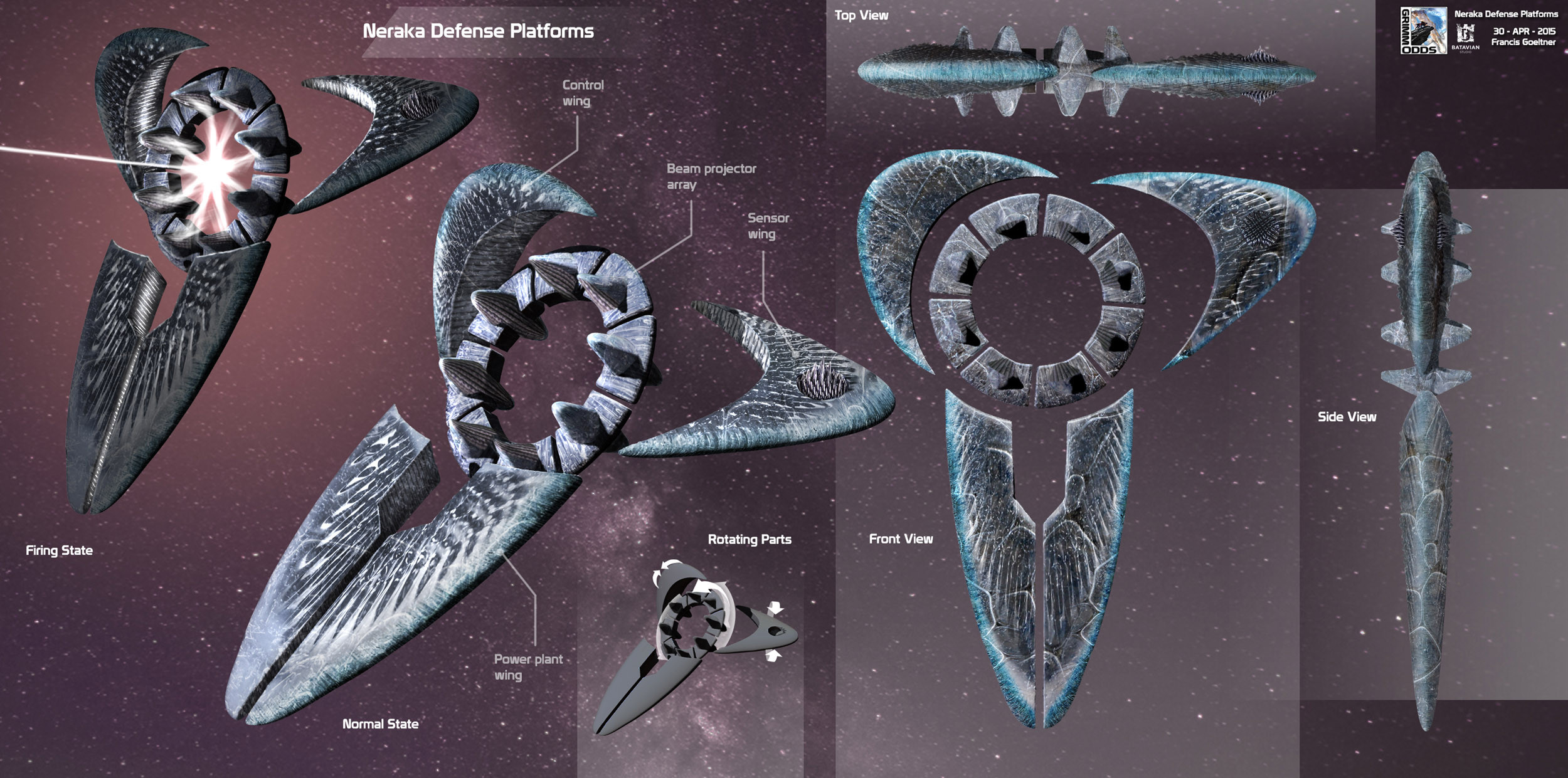 Grimm Odds - Alien Orbital Defense Platform - 3D Sketch