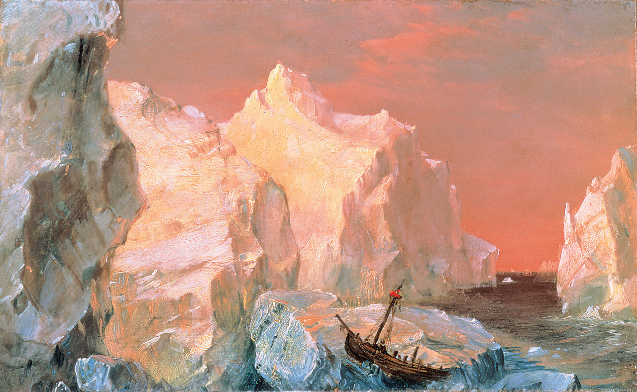 Kate miterko icebergs and wreck in sunset frederic edwin church