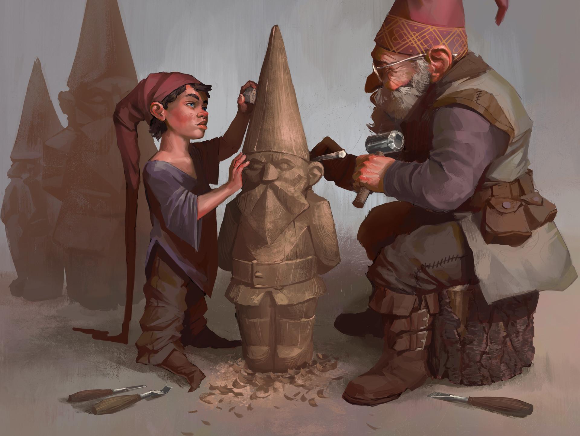 Pedro kruger garcia gnomes sculpting close up