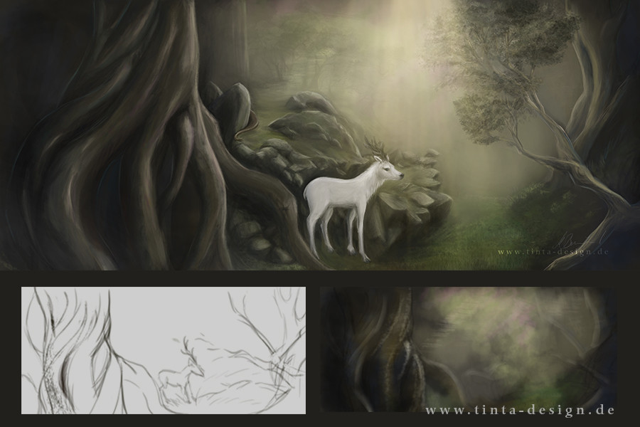 white stag in the forest