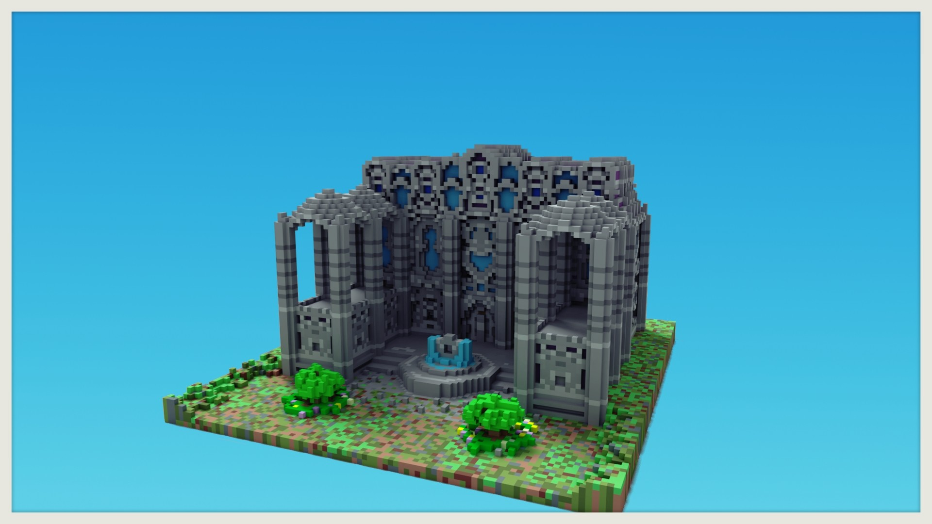 ArtStation - A minecraft building with a magica voxel render