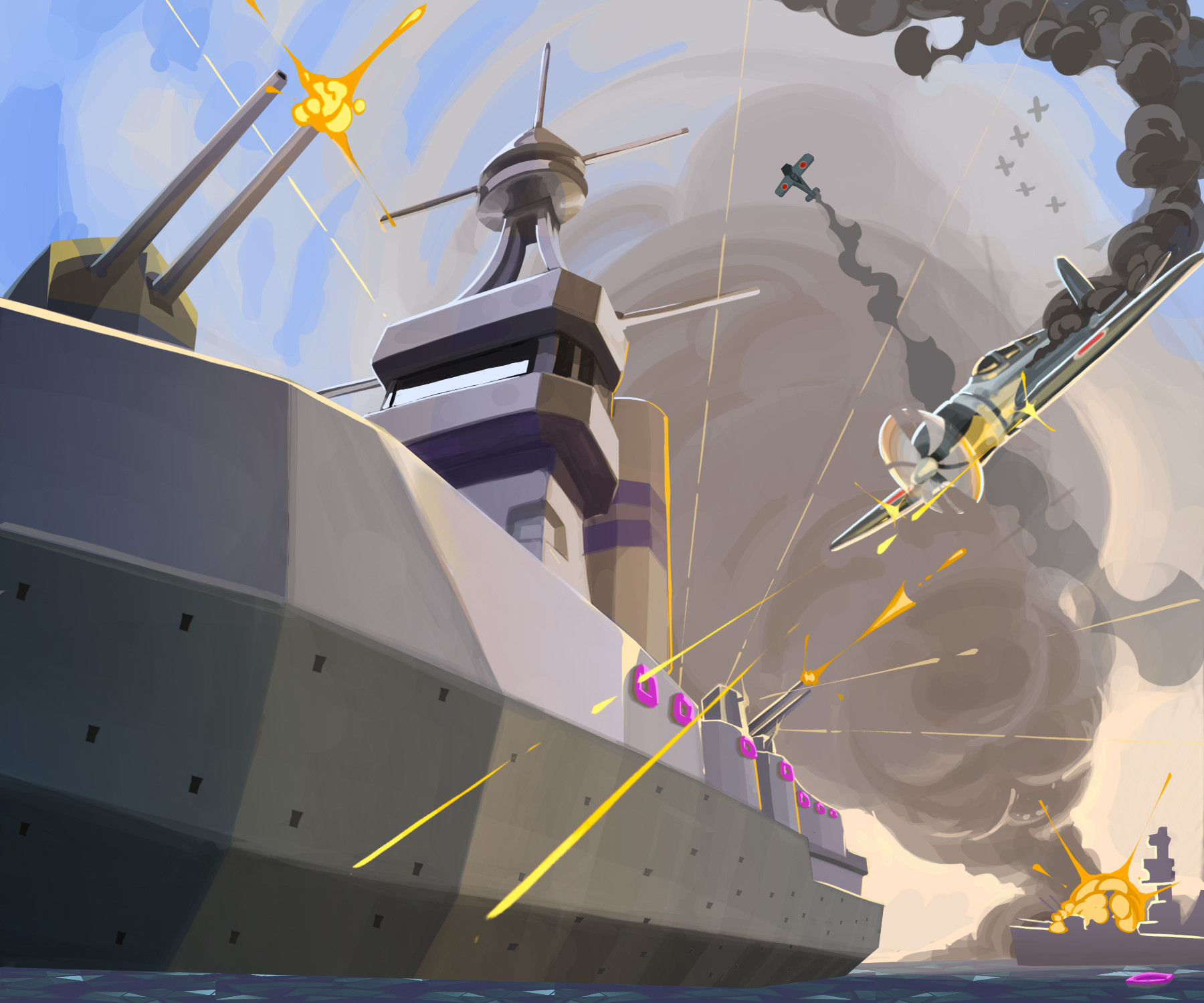 Nicolas morales world war ii battleships illustration doughnut