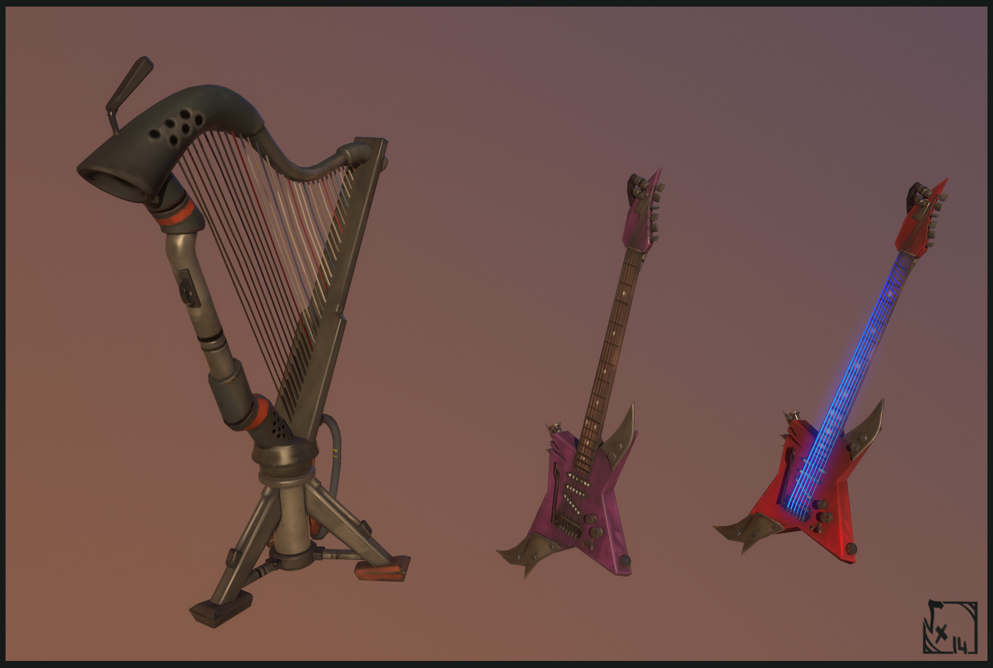 "Musical's Stuff - Used in spawners, as I learn Celtic Arp I wanted to add a junk version of this instrument ;) I don't know if this version could work in real life, I wanted to add flames when the player collides with it, but my mates said ""enough !"" ^^"""