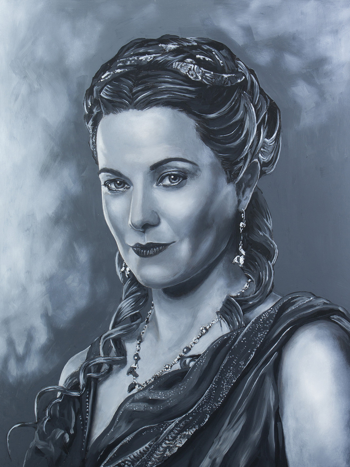 Lucretia - Lucy Lawless Spartacus Series - Acrylic on board. 16x20