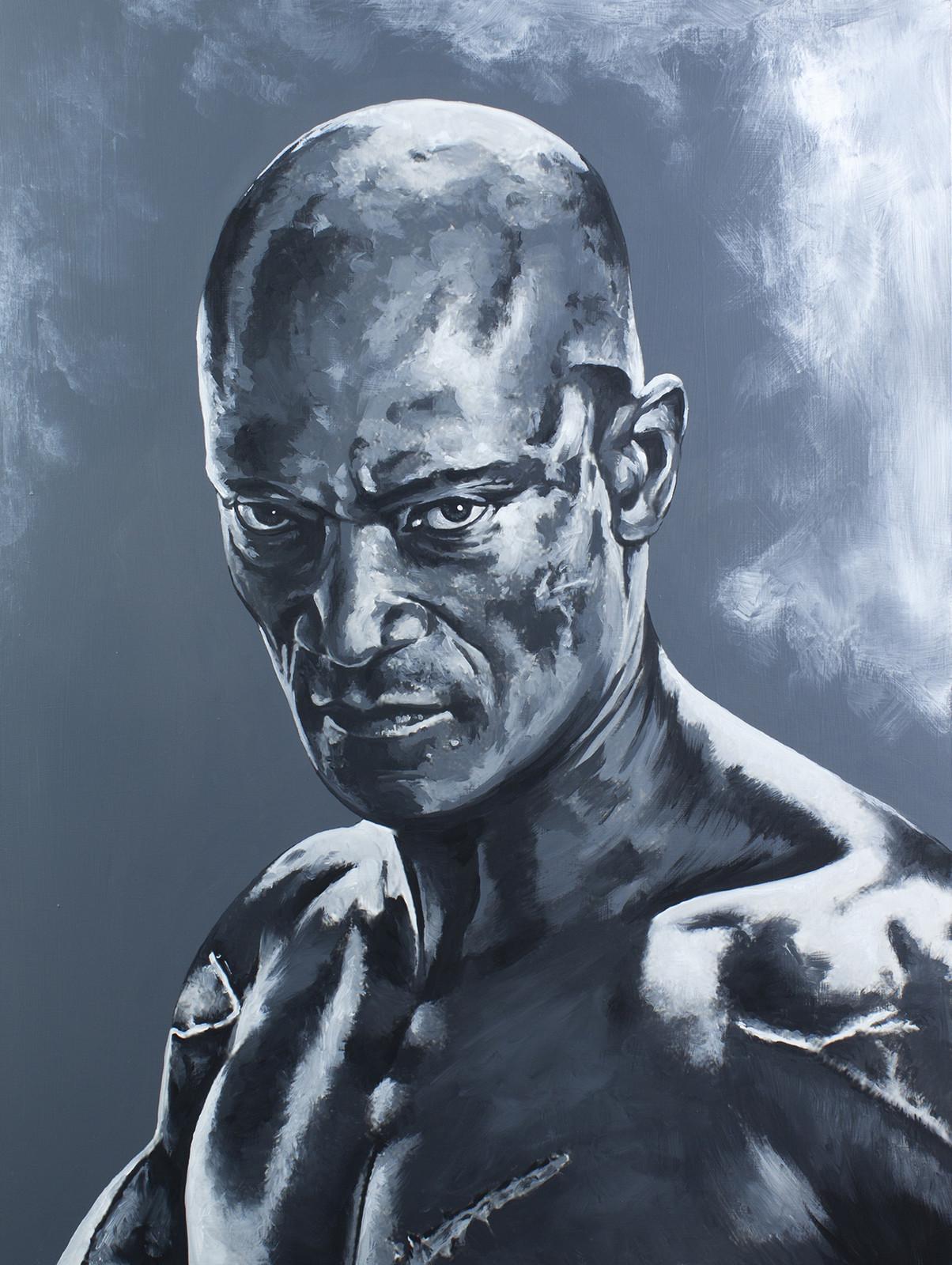 Oenomaus - Peter Mensah Spartacus Series - Acrylic on board. 16x20