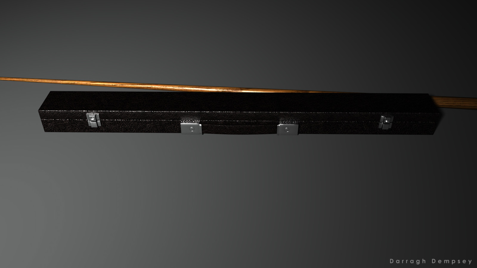 Pool cue and case (textured) low_poly. Closed.
