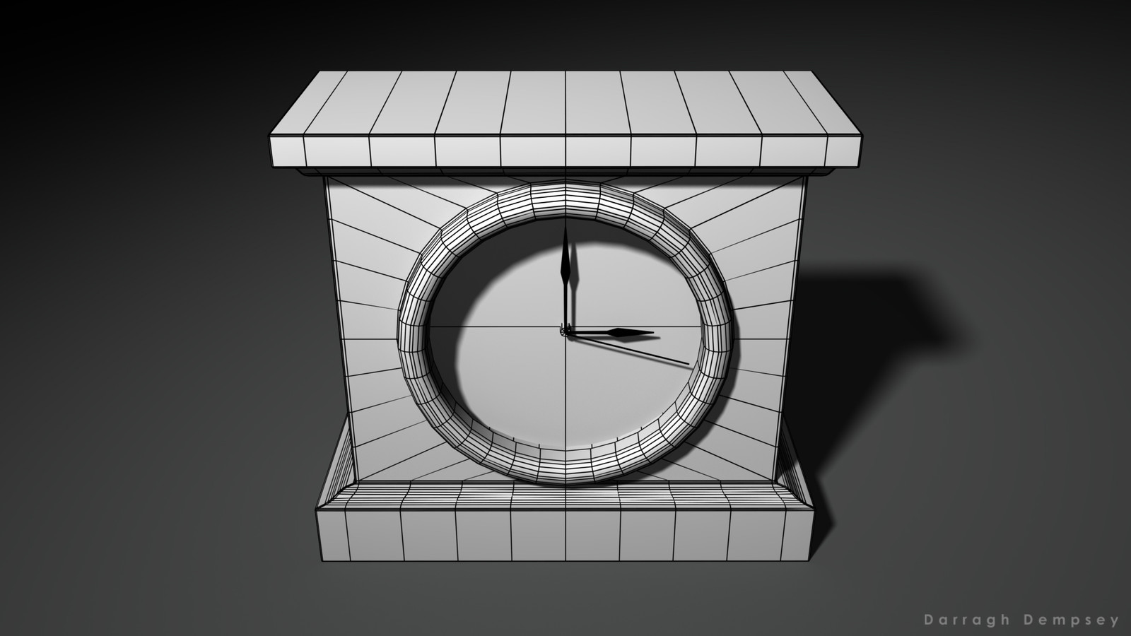Clock asset (wireframe) low-poly. Centered.