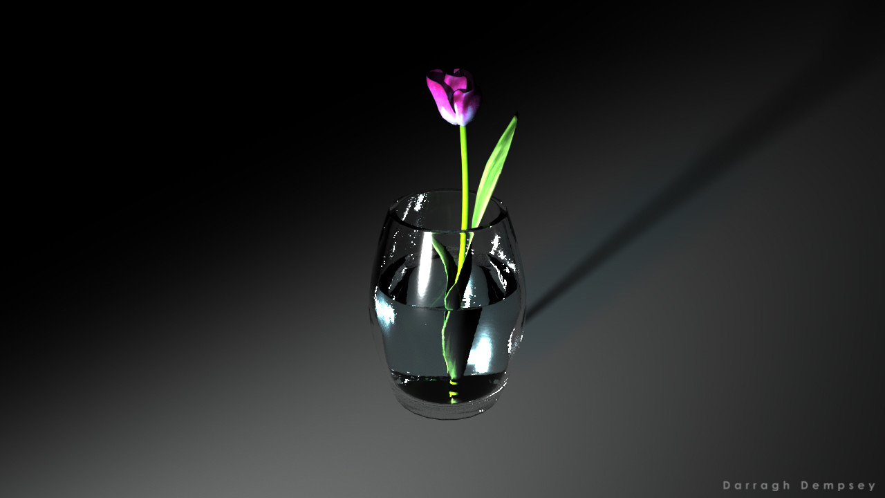 Tulip and vase (textured) low-poly. Centered.
