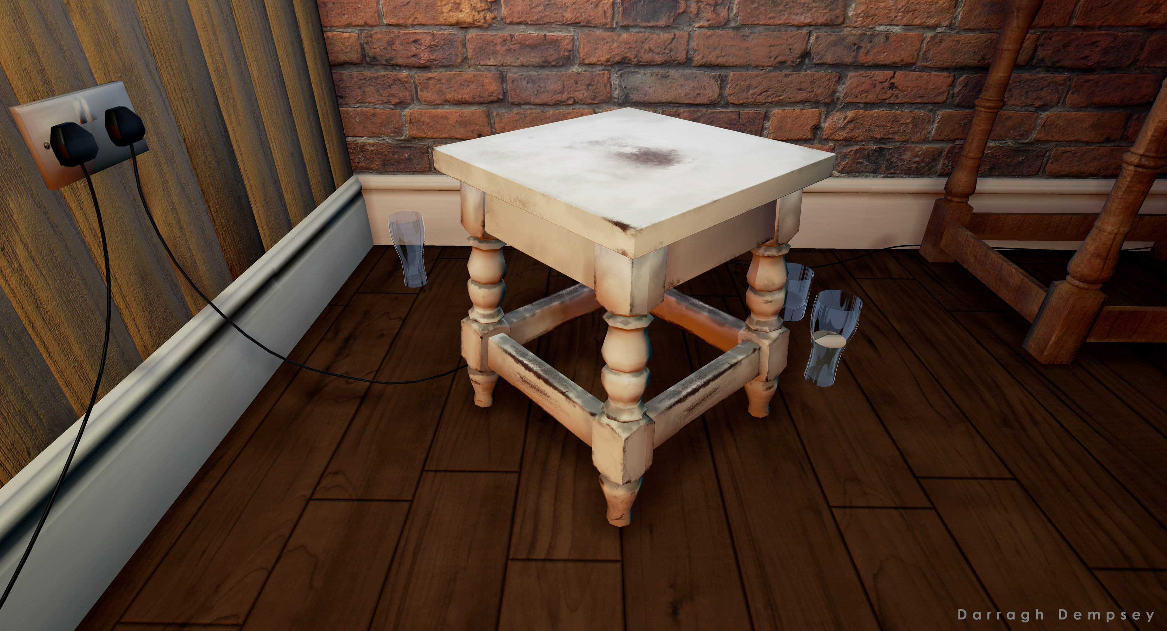 Stool modeled to the exact size of the original. This is the seat that the viewer sits on both inside and outside of the virtual environment. Unreal Engine screenshot.