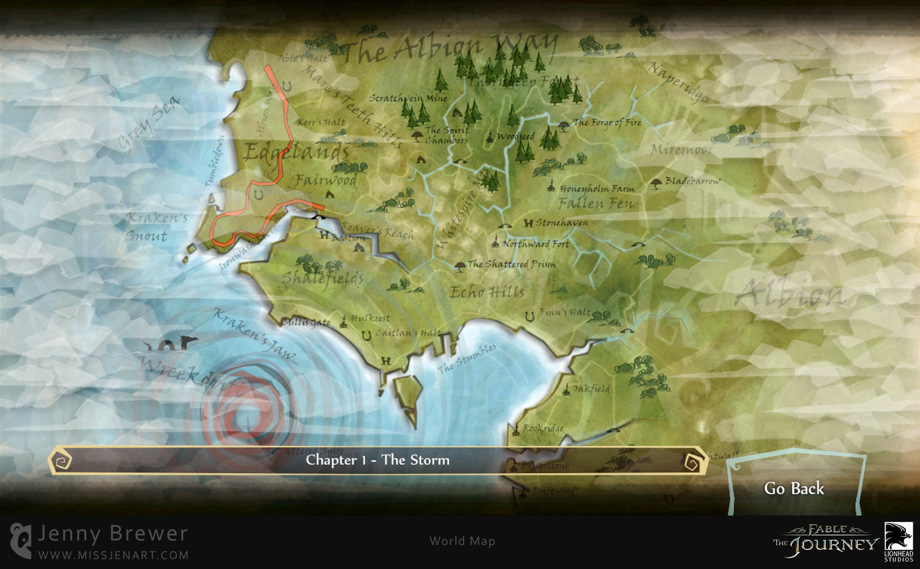 The Map screen shows your progress through the story of the game and is filled with little animations such as mini retelling of parts of the story, parting clouds, growing trees and hidden sea monsters for those with a keen eye!