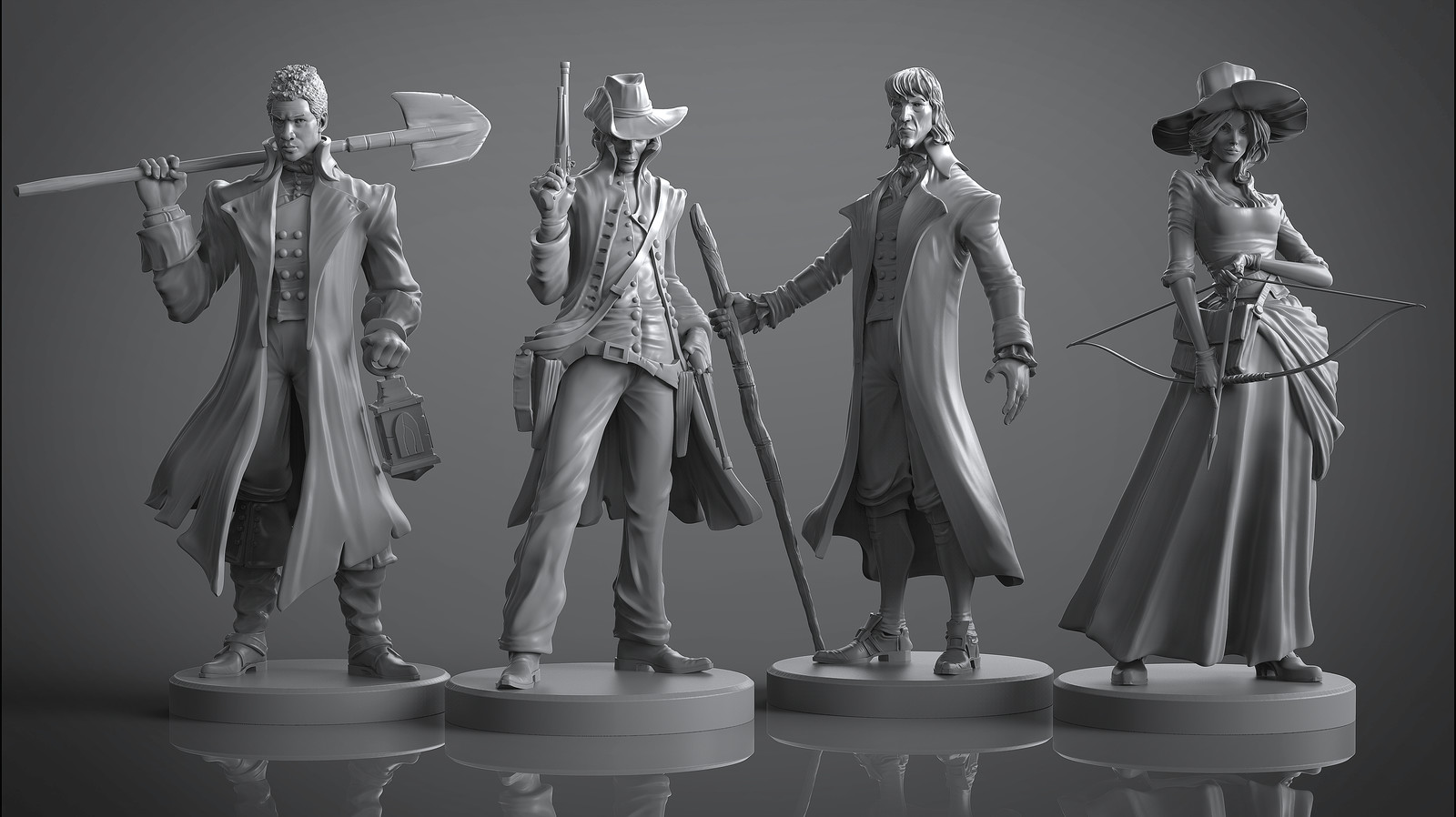 Legends of Sleepy Hollow board game miniatures