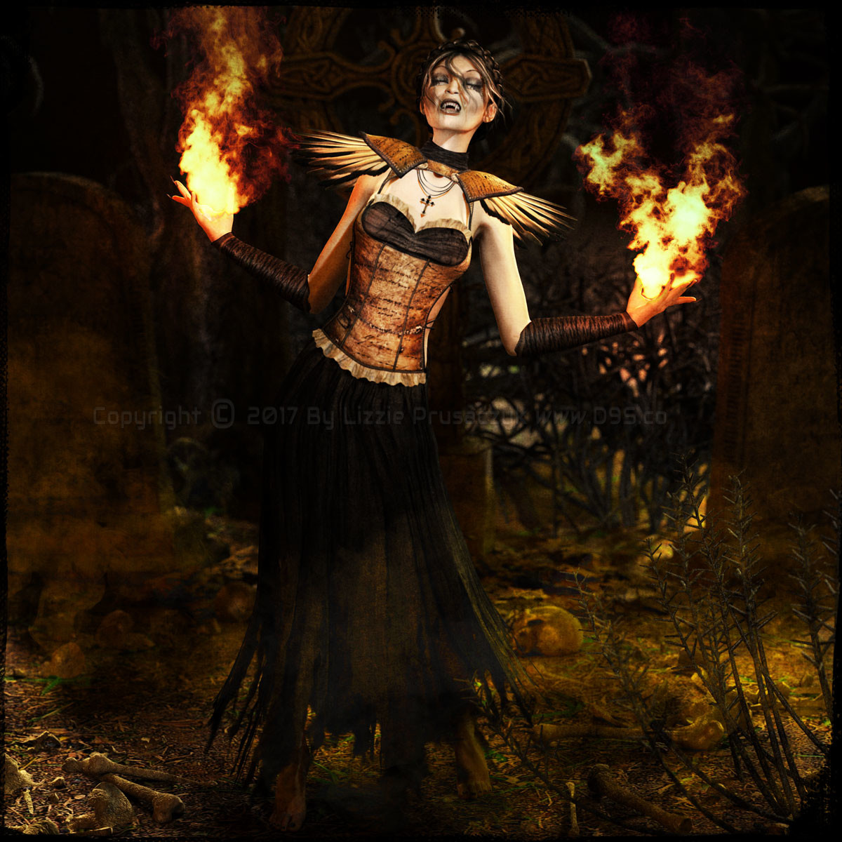 The vampiress uses her dark magic to summon the dead in the old gothic cemetery.