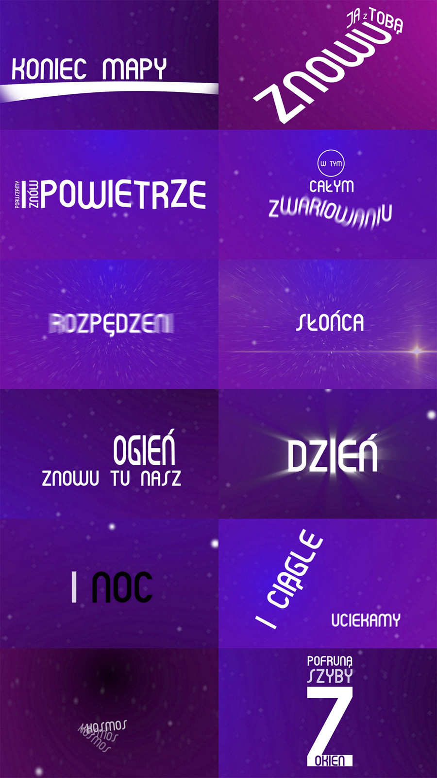 Some example frames from the lyrics video.