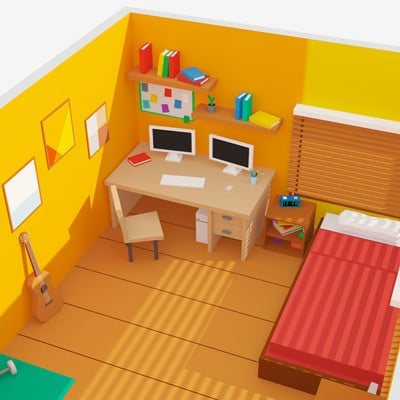Andrew vasilkovskiy color room low poly 01