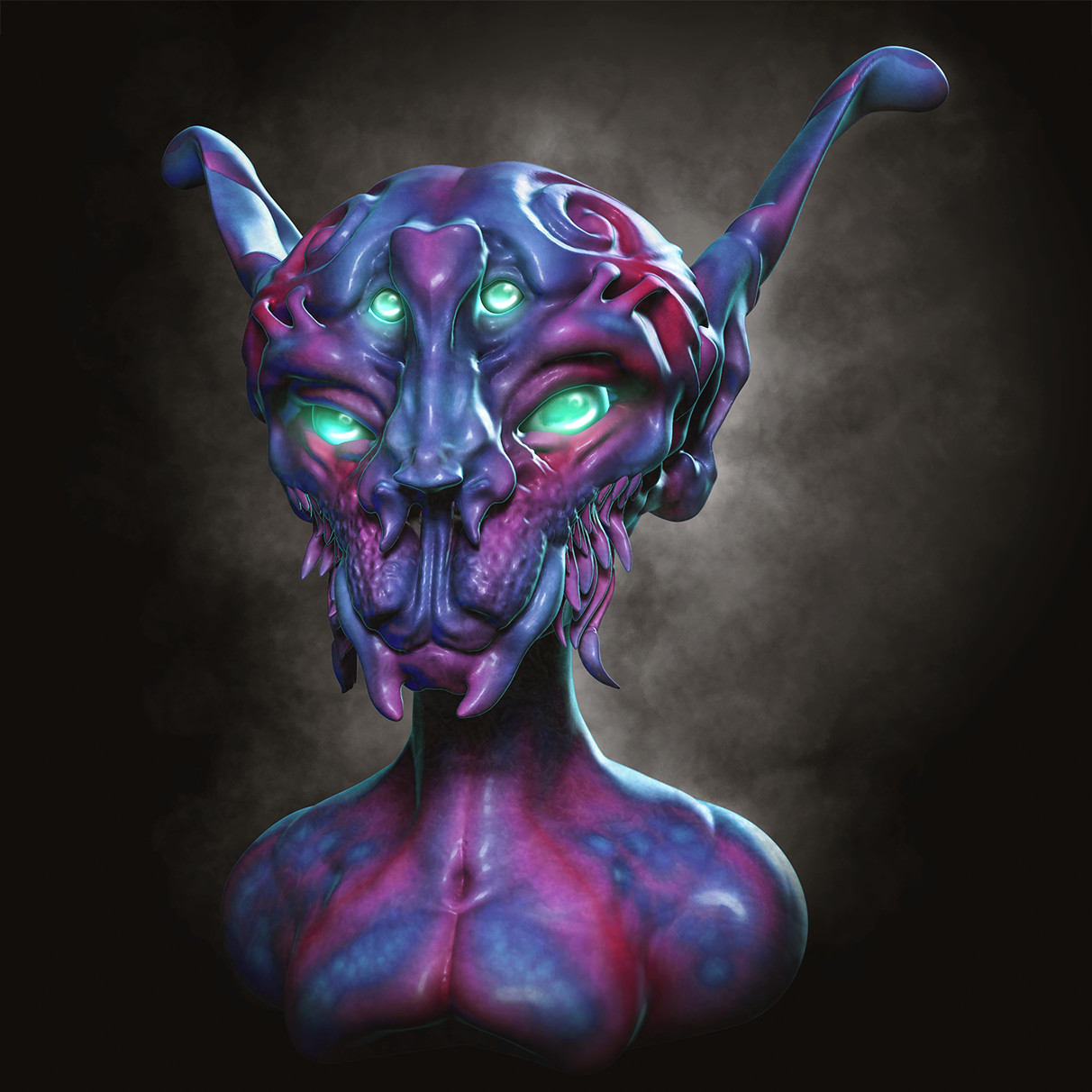 Medium sculpt imported to ZBrush, multiple renders, Photoshop Comp + paintover.