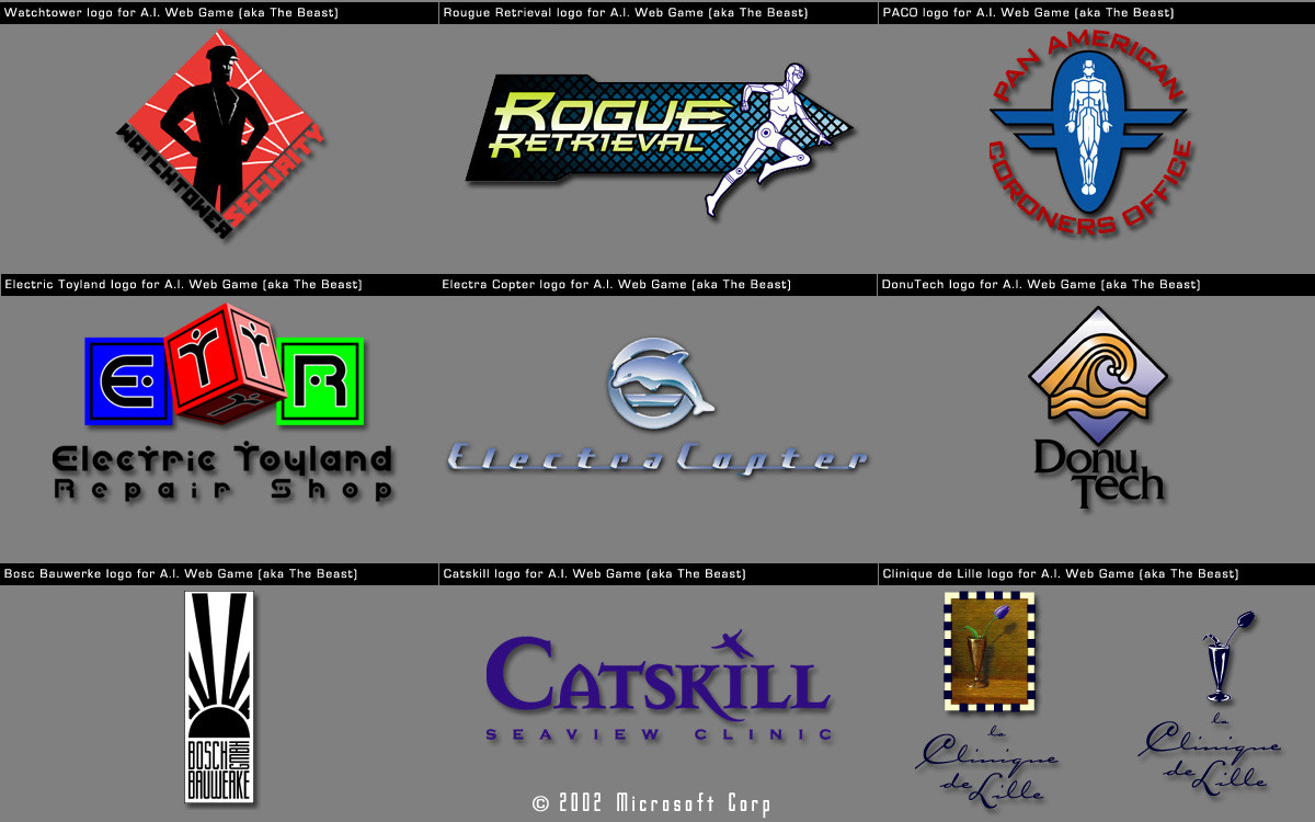 "Logos for ""the Beast"" A.I. Web game"