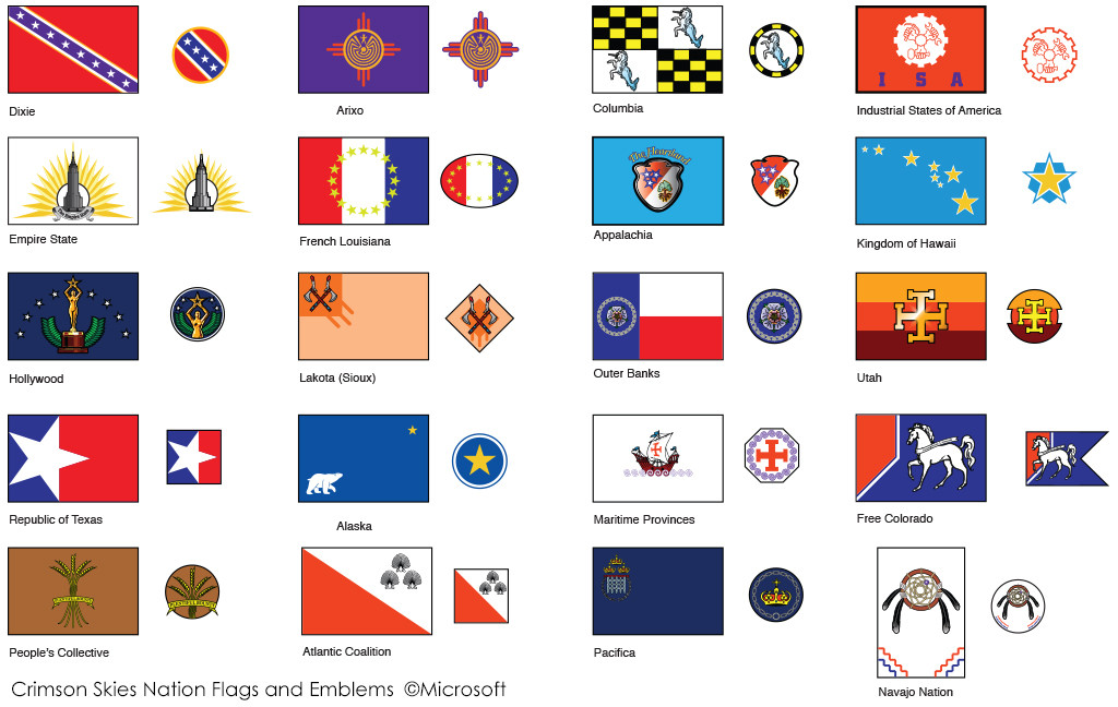 Flag emblems for the Crimson Skies Universe
