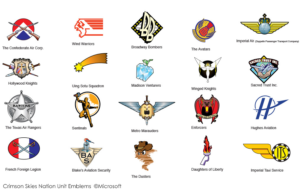 Militia emblems for the Crimson Skies Universe