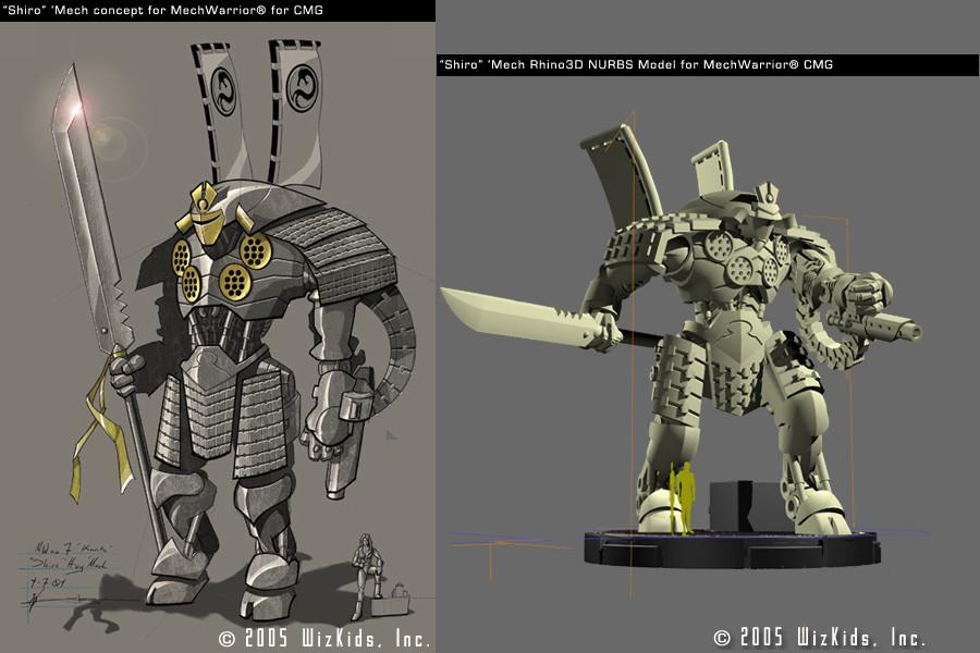 """""""Shiro"""" Mech concept with final 3D for Mech Warrior Property"""