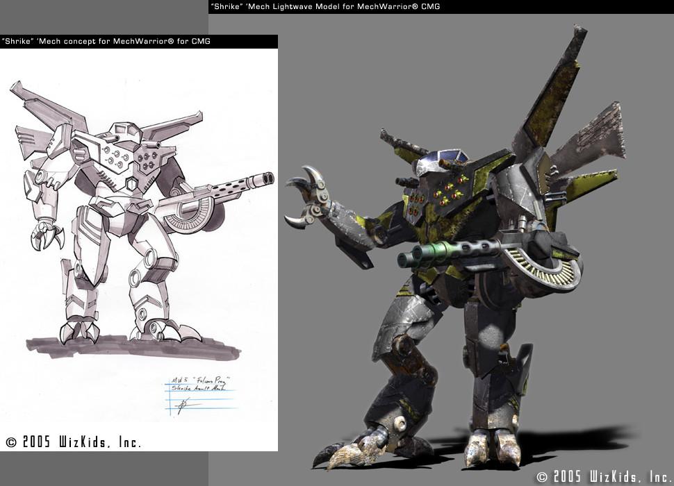 """""""Shrike"""" Mech concept with final 3D for Mech Warrior Property"""