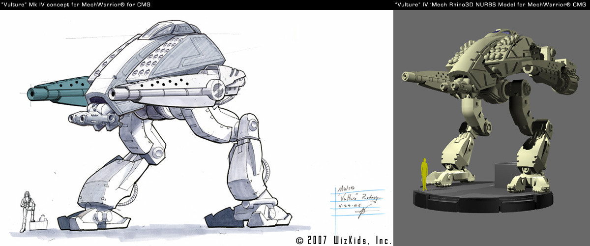 """Vulture V4"" Mech concept with final 3D for Mech Warrior Property"