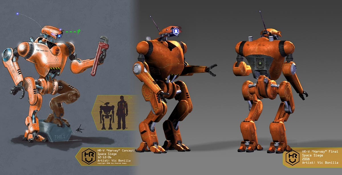 """""""Har-V"""" Personal Assistant Bot concept to 3D for Space Siege Game"""