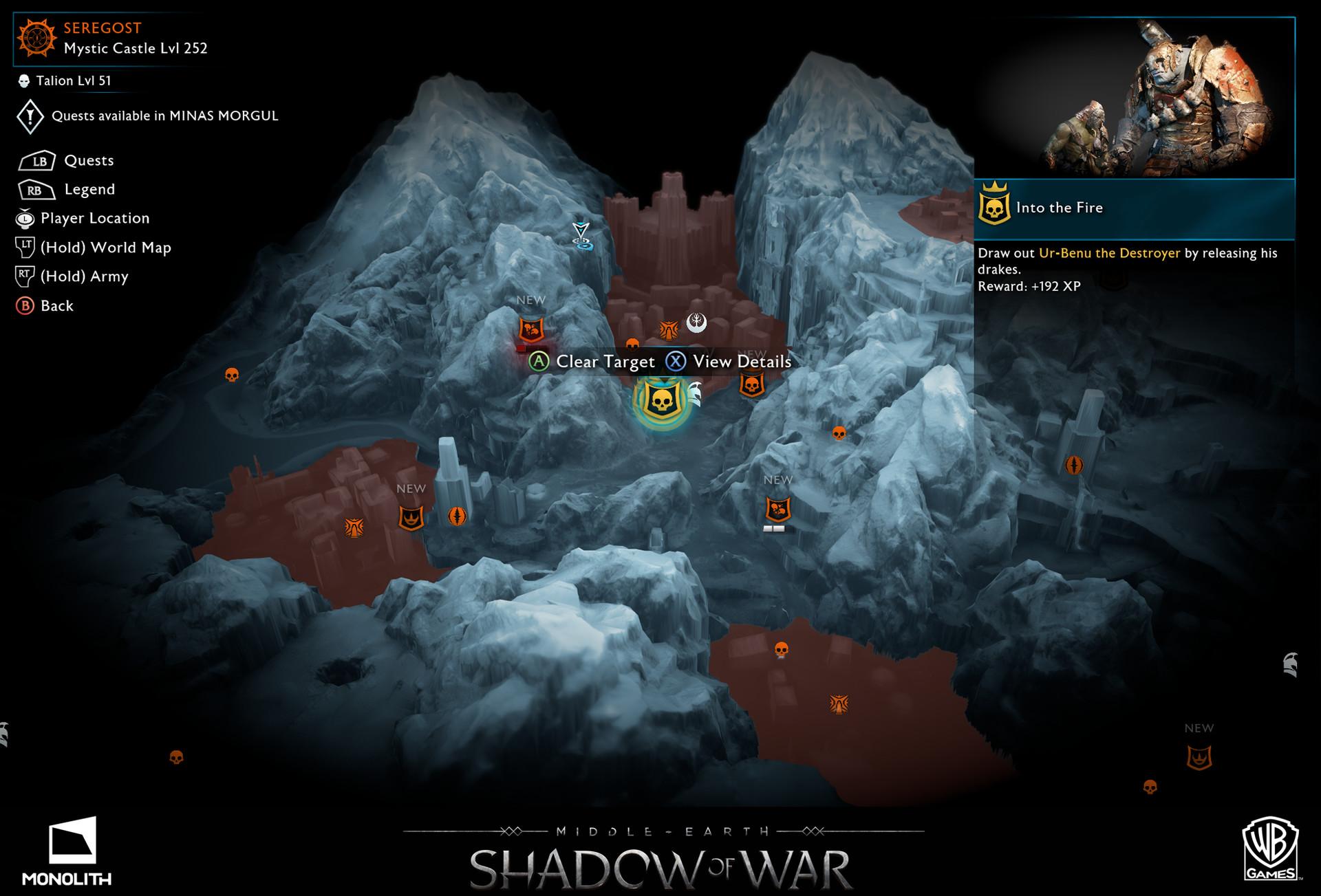 Artstation Ux Ui Map Screens Shadow Of War Stephen Whetstine