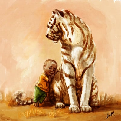 Okan bulbul kid with a tiger03
