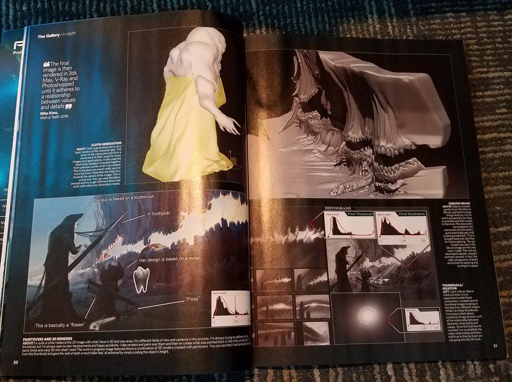 Picture of article in 3D Artist Magazine.
