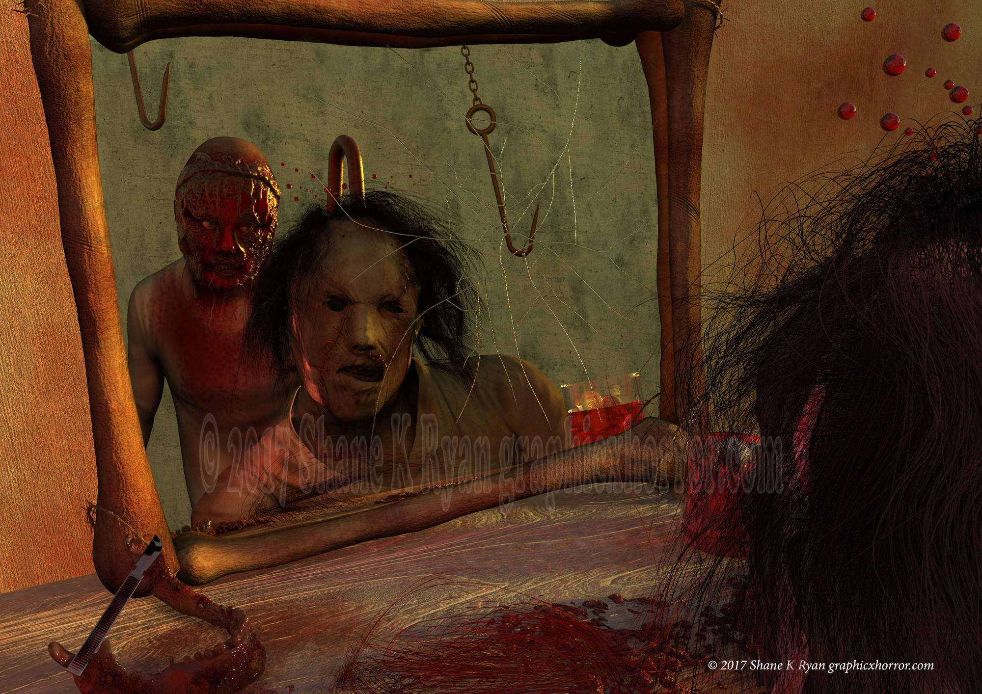 Leatherface's own vanity would be his down fall while admiring his new face.