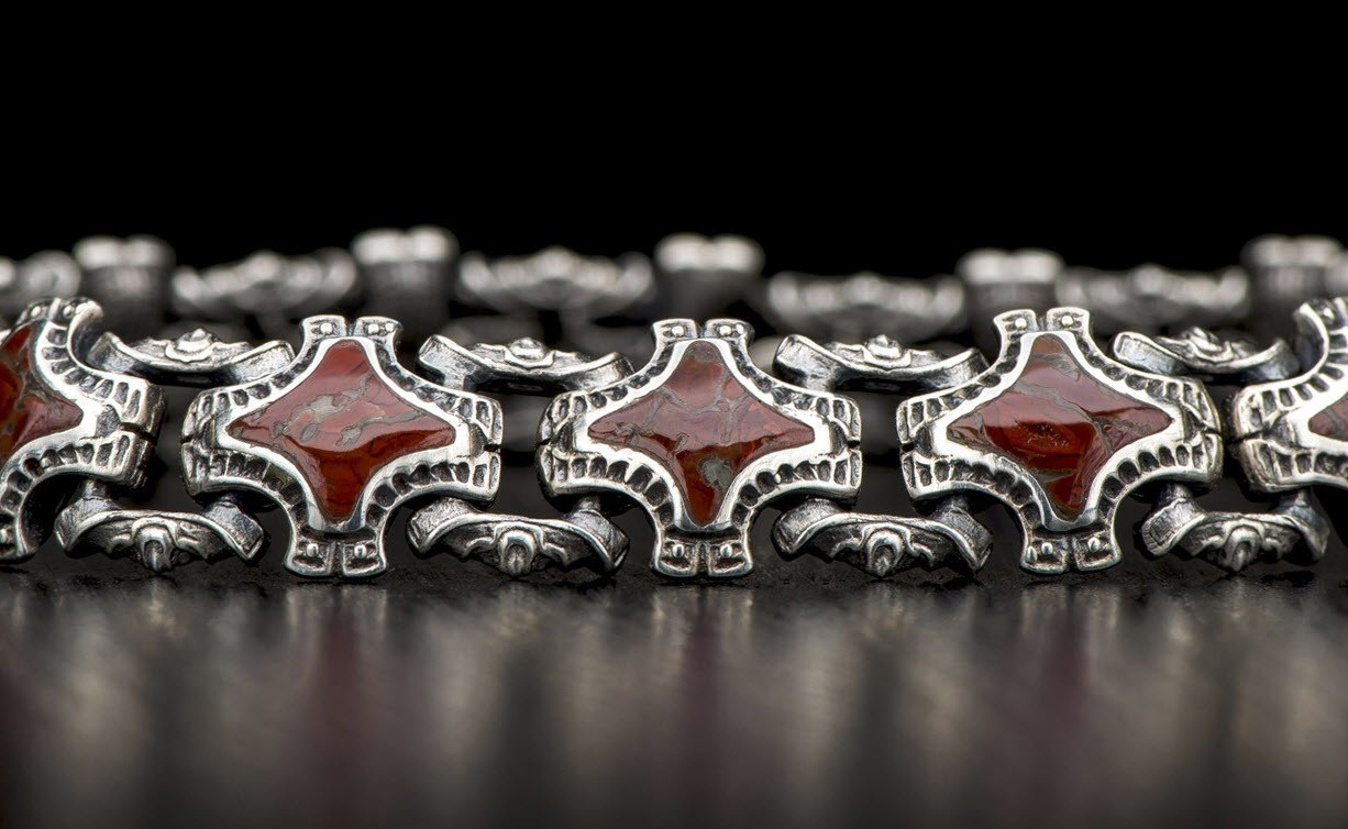 William Henry - Small silver bracelets with inlays