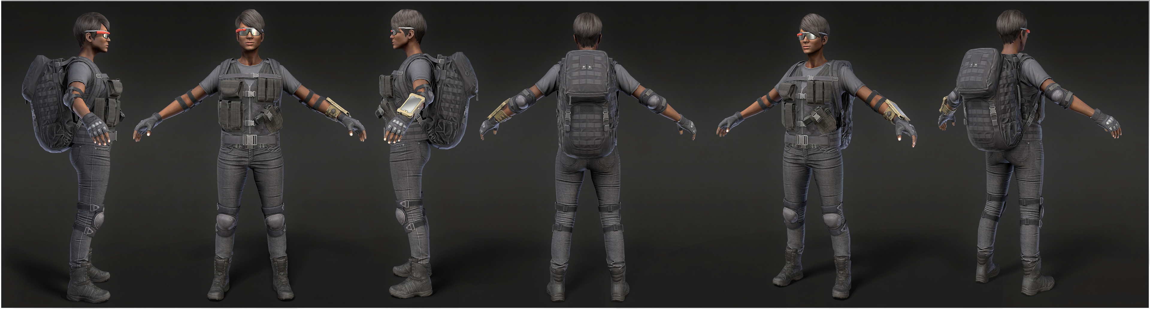 High poly body with textures