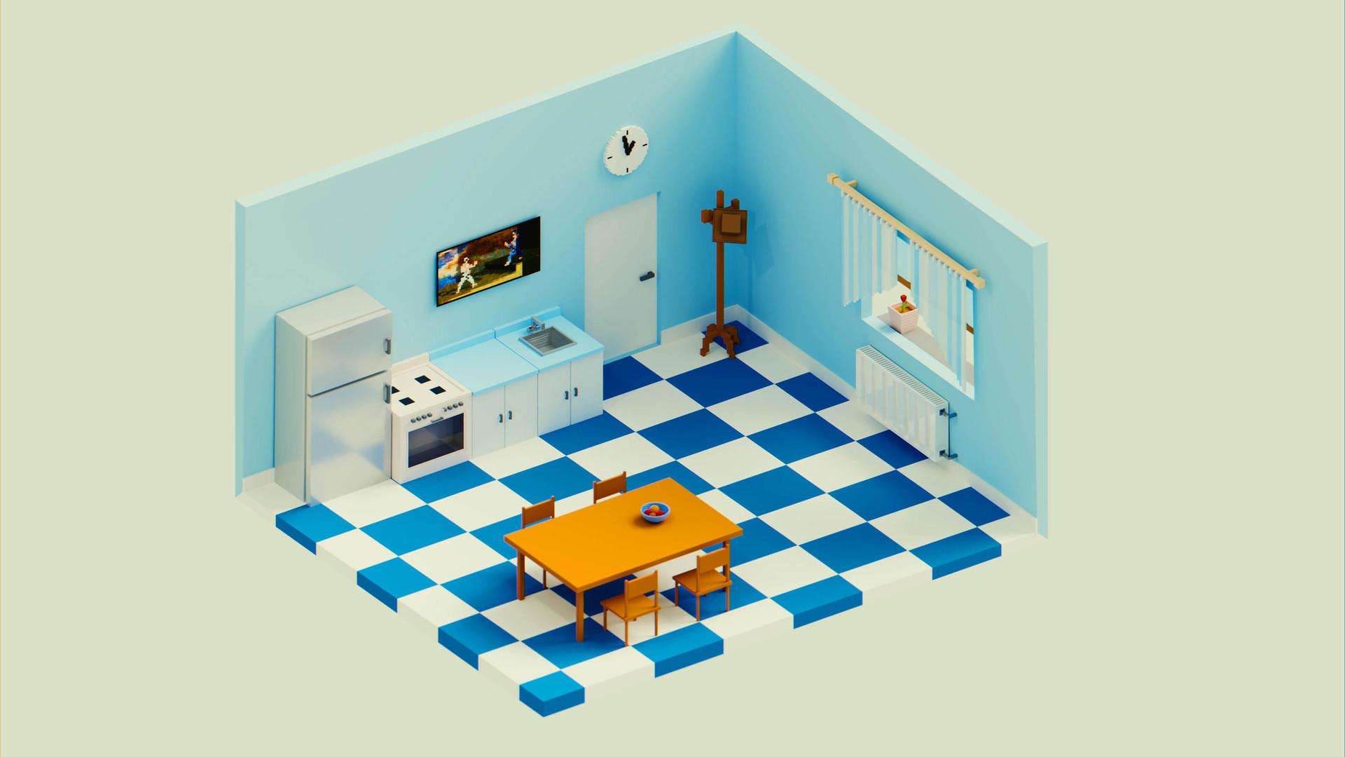 ArtStation - Voxel Kitchen, Mateusz Madoń