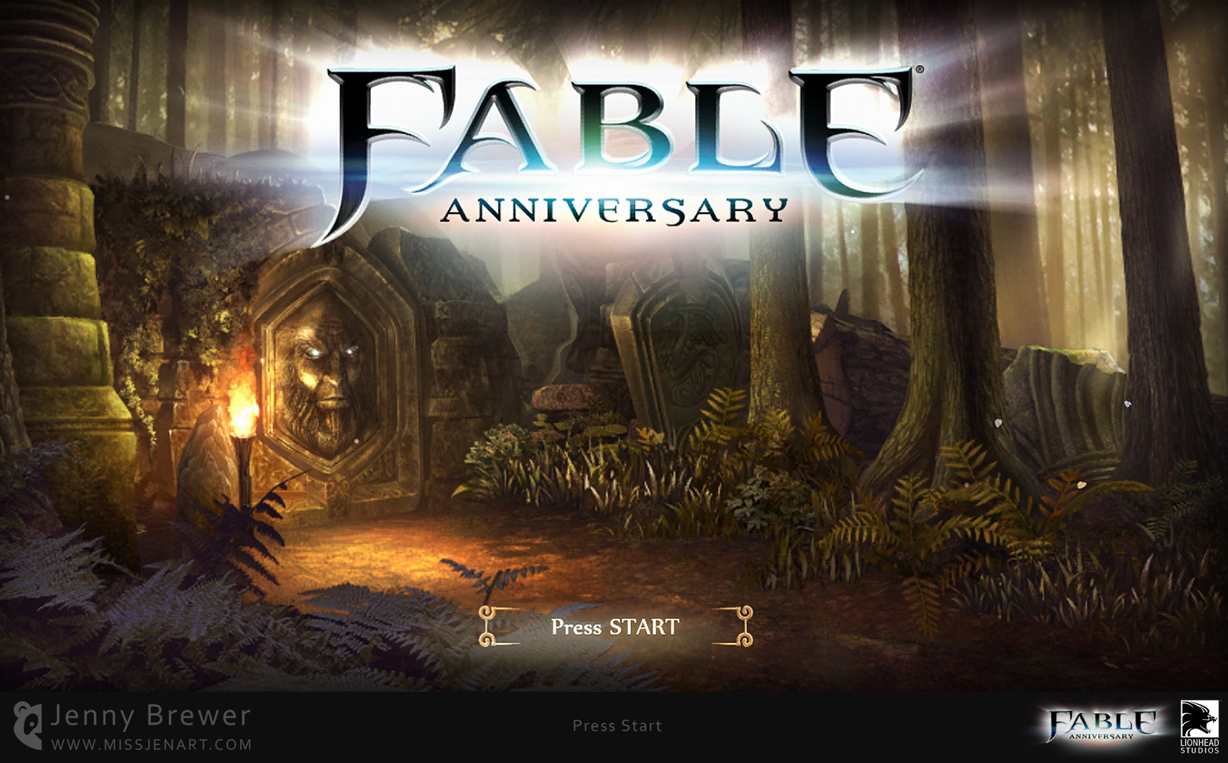 One of the first screens players are greeted with in Fable Anniversary is the Press Start screen.  There are 4 possible scenes which are randomly displayed each time you load the game, each with their own subtle animations to bring the environment to life