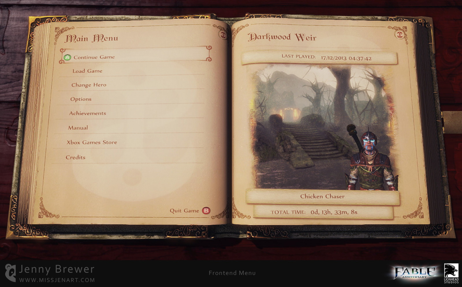 The Press Start screen transitions to the frontend menu which takes the shape of a book. Every player is starting their own story as a hero, as they progress through the game every action is documented and their own story book is made.