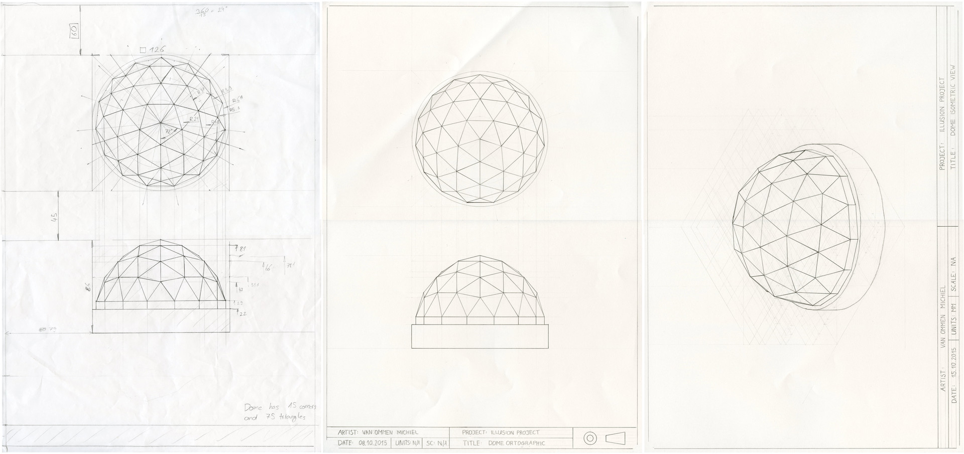 Process of creating a dome made out of triangles - from sketch to isometric