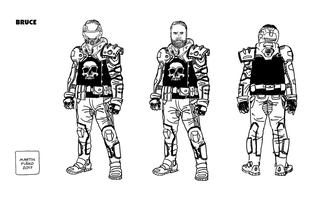 Designs for Bruce, a supporting character in the series.